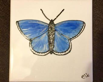 Ceramic Tile Painting, Original. Common Blue butterfly, silver, blue, black and white bug creepie crawley insect plaque butterfly