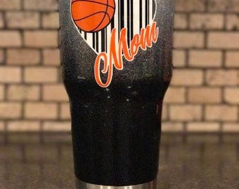 Basketball Mom Personalized Ombre Fade and Glitter Painted 30 oz tumbler