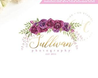 Affordable Customized Logo - photography logo - event logo - interior design logo - burgundy floral logo - watercolor - Branding - BL217A