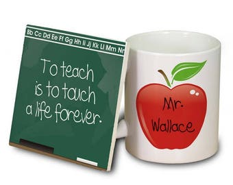 Teacher Personalized Mug & Coaster Set, Teacher Personalized Mug and Chalkboard Coaster, Teacher Gift