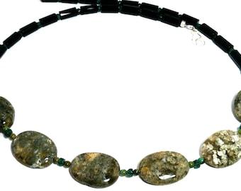 Pacific Rainforest, Earth, green, black gem bib necklace; Fossil jasper, onyx, emerald, petrified wood; Large stone bead statement necklace