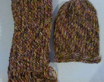Great scarf and multicolored wool Cap