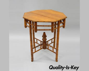 Vintage Octagonal Oriental English Victorian Style Faux Bamboo Side Table Teak Wood