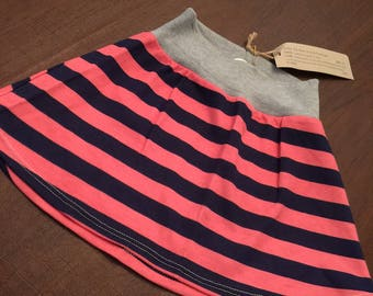 Organic Cotton Baby Clothes Handmade Cream with Pink and Blue Stripe Skirt size 3