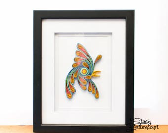 Quilled Rainbow Rooster Abstract