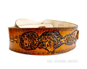 Wolves in the Mountain Hand Tooled Leather Dobro Guitar Strap - One Button Guitar Strap - Wolf Guitar Straps