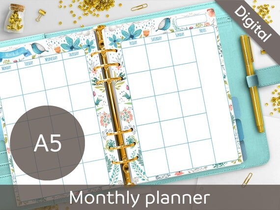 A5 Monthly Planner Printable Undated Monthly Calendar