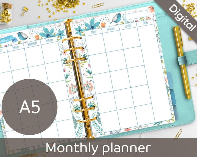 A5 Monthly Planner Printable, Undated Monthly, Calendar, Filofax A5 printable refills, Arinne Blue Bird DIY Planner PDF Instant Download