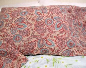 Vintage Pillowcase Set Aqua Brick Red Floral