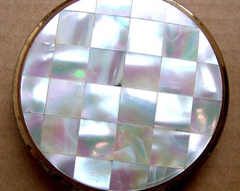 Vintage powder compact Stratton mid century mother of pearl, purse compact, vintage makeup accessory vanity storage Mad Men dress accessory