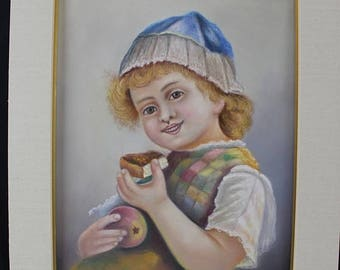 End of month sale Original Pastel & Gouache Drawing Portrait Young Dutch Girl From Elkhart Ind. Rene S Berry 1936
