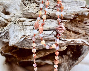 NATURAL AGATE and Solid Copper Beaded Necklace