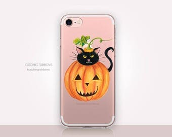 Halloween Cat Clear Phone Case - Clear Case - For iPhone 8, 8 Plus, X, iPhone 7 Plus, 7, SE, 5, 6S Plus, 6S,6 Plus, Samsung S8,S8 Plus,