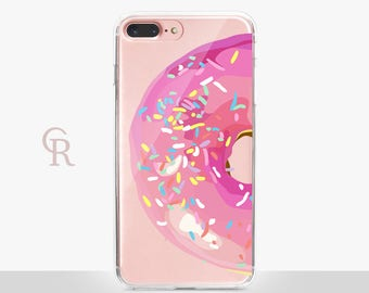 Donut Clear Phone Case - Clear Case - For iPhone 8, 8 Plus, X, iPhone 7 Plus, 7, SE, 5, 6S Plus, 6S,6 Plus, Samsung S8,S8 Plus,Transparent