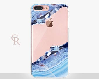 Gemstone Marble Clear Phone Case -Clear Case - For iPhone 8, 8 Plus, X, iPhone 7 Plus, 7, SE, 5, 6S Plus, 6S,6 Plus, Samsung S8,S8 Plus,