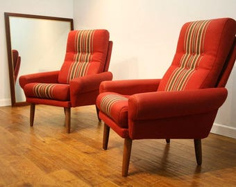 A Pair 60's Danish armchairs for re-upholstery.
