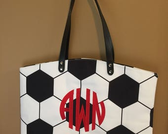 Personalized Soccer Tote Bag, Embroidered Soccer Tote,  Monogrammed Soccer Bag, Monogrammed Soccer Tote Bag, Soccer bag