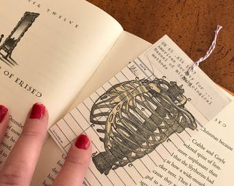 Human Ribs Vintage Library Due Date Card Bookmark / Anatomy / Library Nostalgia