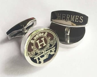 HERMES Cufflinks in White Gold Plated