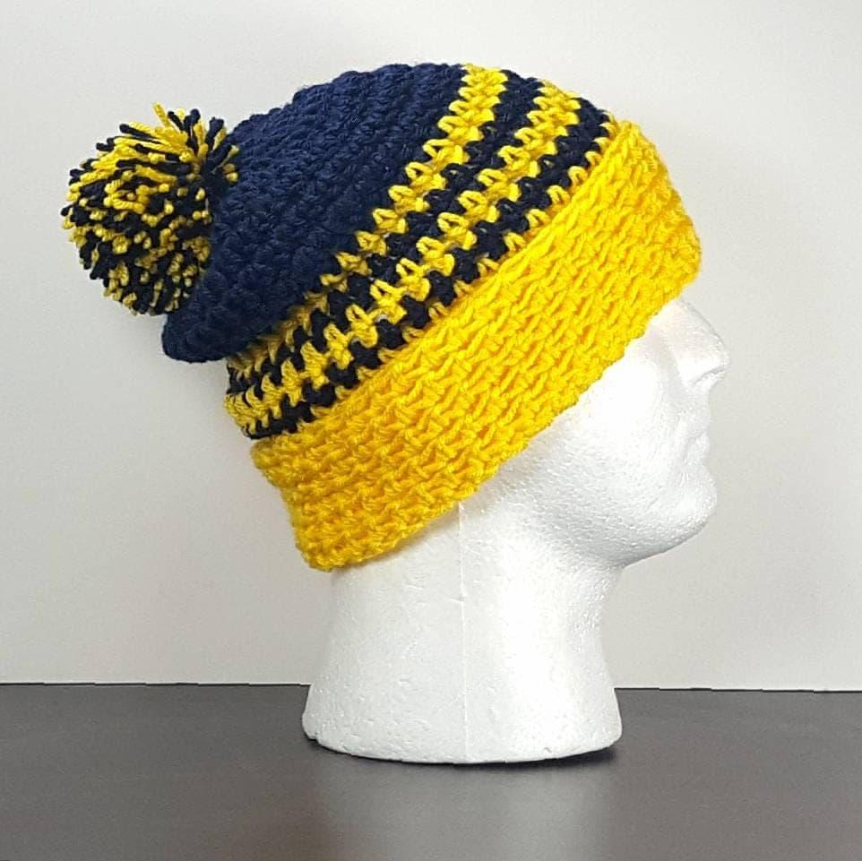53405a14590 ... discount code for hat crochet 322de 9b3bc ireland michigan wolverines  crochet beanie cuffed navy blue and