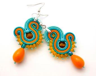 Light sunny soutache  earrings, minimalist teardrop earrings, small yellow blue beaded earrings, everyday tiny earrings, gift for her