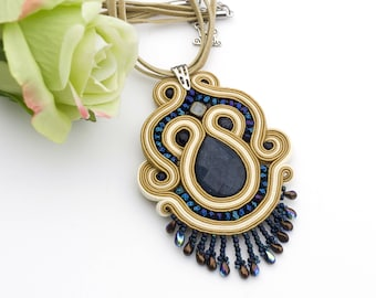 Rustic soutache pendant necklace, beige and navy blue everyday fringe necklace, blue stone boho necklace, gift for her, handmade pendant