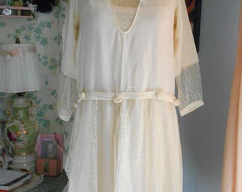 Ultimate 1920's Ivory Silk 1920's Flapper/Great Gatsby/Downton Abbey Wedding/Garden/Tea Party Dress
