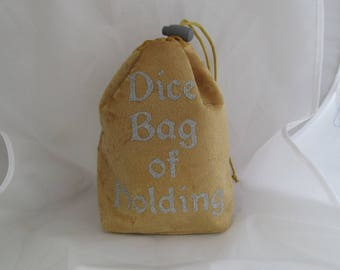 Dice Bag Pouch Velvet Dungeons and Dragons D&D RPG Role Playing Die Gold Dice Bag of Holding Reversible Lined