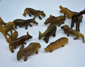 Vintage Carved Wooden African Animals