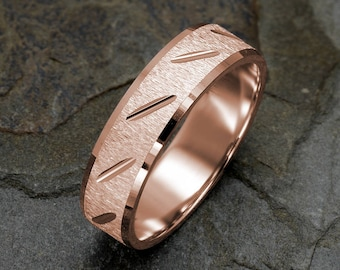 14K Rose Gold Wedding Band Brushed Mens Ring Grooved Solid Gold Band Polished Edges Mens rings Custom Engraved Mens Wedding Ring 6mm band