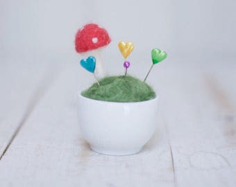 Magic felted mushroom pincushion