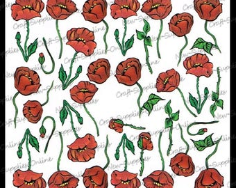 Flowers of red poppies - M510 transfers