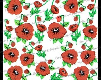 Flowers of red poppies - M530 transfers