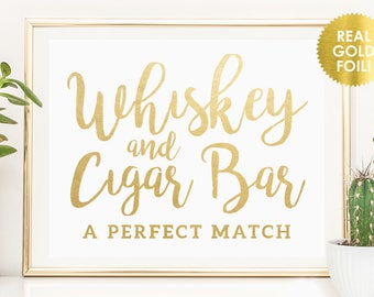 WHISKEY & CIGAR BAR Signs in Gold Foil / Wedding Cigar Bar Signs / Cigar Bar Wedding Signs /  Gold Foil Wedding Signs / Peony Theme