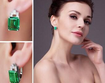 Heritage 8CT Emerald Cut Simulated Russian Emerald IOBI Precious Gems Earrings