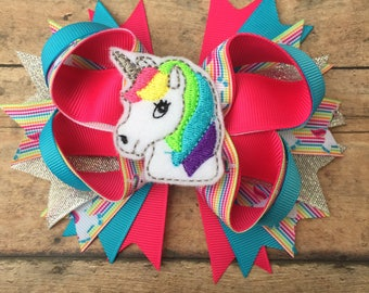 Unicorn Hair Bow - Unicorn Bow - Unicorn hair clip - Unicorn - Birthday Bow - Sparkle bow - Rainbow Unicorn Bow - Unicorn Hair Accessory