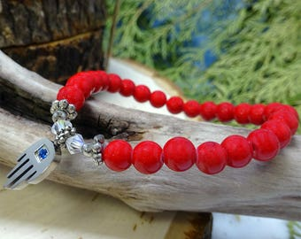 Red Magnesite Beaded Bracelet with Hamsa Charm