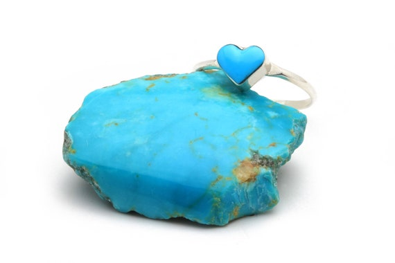 BRAND NEW! Adjustable sm heart Natural Navajo Handmade Turquoise & Sterling Silver Ring Native American jewelry, bohemian beach wedding.