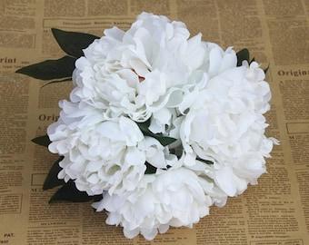 white bridal bouquet silk wedding bouquet white silk of 1 bunch