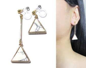 White Marble Faux Stone Dangle Clip On Earrings |33d| Unmatched Bar Gold Invisible Clip-ons Earring, Triangle Geometric Long Clip Earrings