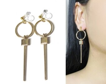 Hoop Clip On Earrings |34G| Circle Gold Bar Small Cube Dangle Clip On Earring, Non Pierced Clip-ons Earring, Invisible Long Clip Earrings