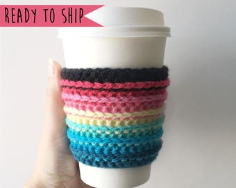 Rainbow Coffee Cozy, Cup Cozy, Coffee Cozy, Cup Sleeve, Crochet Coffee Cozy, Coffee Sleeve, Rainbow Coffee Sleeve, Coffee Cosy