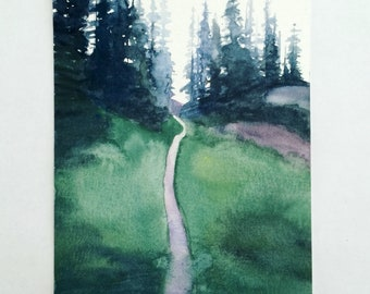 Watercolor painting,  PNW art, Pacific Northwest, Misty mountains, pine trees, watercolor trees, mountain painting, landscape painting