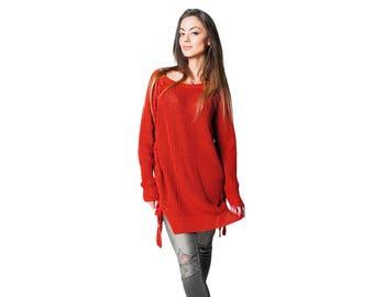 Cotton Sweater COMFORT | Reddish brown