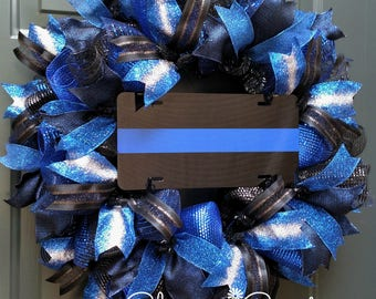 Law Enforcement Wreath, Thin Blue Line Wreath, Front Door Wreath, Police Wreath, Deco Mesh Wreath,  LEO, Police Gift,  Blue Line Wreath