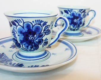 Delftsblauw Demitasse, Vintage Blue and White China, Dutch China, Delft Blue Espresso Set, Tiny Teacups, Vintage China, Replacements