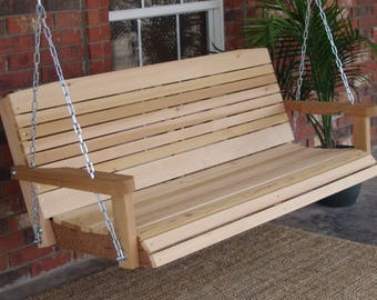 Brand New 5 Foot Cedar Wood Colonial Porch Swing with Heavy Duty Chain and Springs - Free Shipping