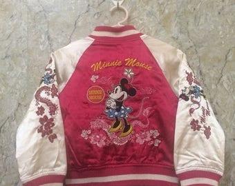 Birthday Sale KIDS Vintage Embroidered Japanese Souvenirs Sukajan Varsity Jacket, Yakuza, Hip Hop Minney Mouse Kids Size Rare