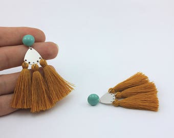 Mustard Fan Tassel Earrings with Jade Swarovski Cabochons and Handmade Tassels, Handmade Jewelry by Detail London.