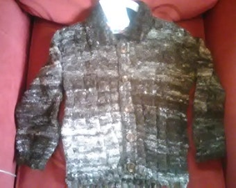 Hand knitted Cardigan, knitted with home spun wool to fit a child aged 3-4 years old